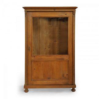 Tradiční selský nábytek Starožitná jednodveřová vitrina – prosklená knihovna – ze smrkového dřeva po celkové opravě.