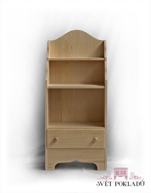Knihovny a vitriny v rustikálním stylu Policová skříňka z třešňového dřeva.