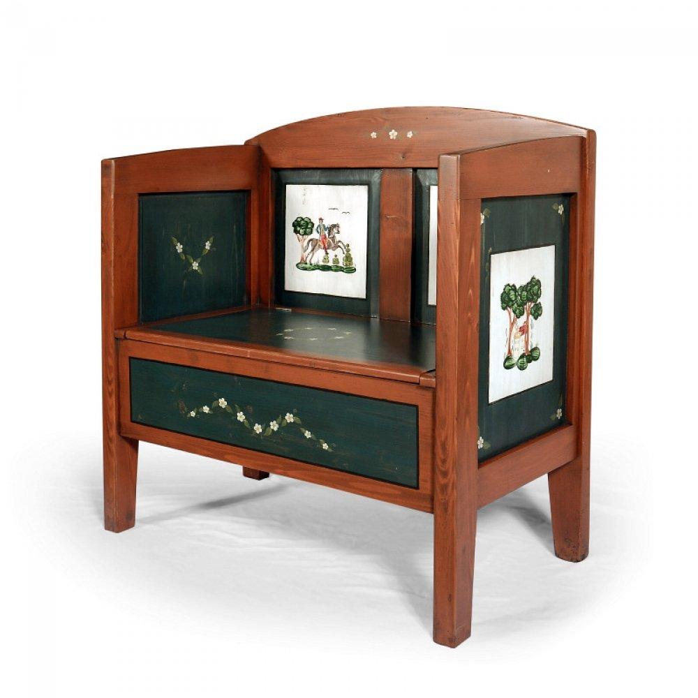 Malovaný a barvený nábytek Malovaná selská lavice s truhlou