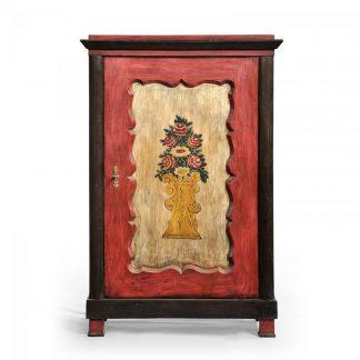 Malovaný a barvený nábytek Skříň jednodveřová s namalovaným květinovým dekorem.
