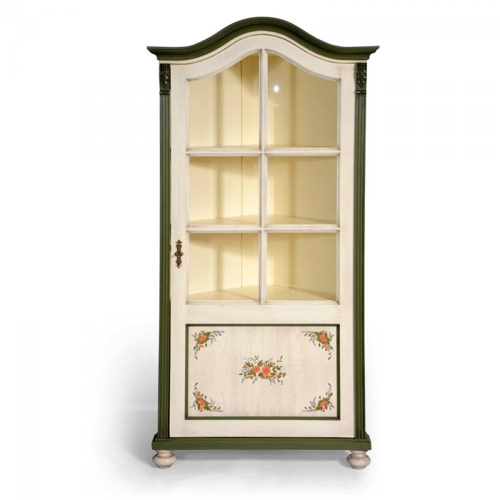 Malované prosklené skříně, vitriny a knihovny Malovaná koutnice – rohovka