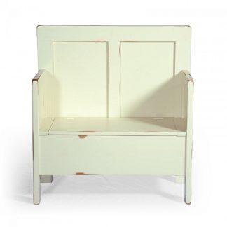 Malovaný a barvený nábytek Bílá lavice s úložným prostorem.