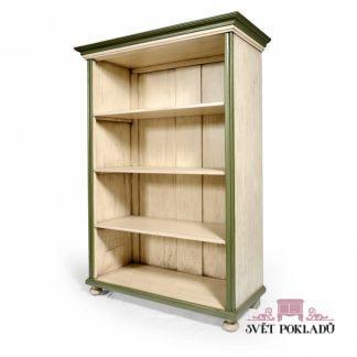 Malované prosklené skříně, vitriny a knihovny Otevřená knihovna – regál.