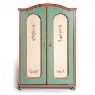 Malovaný a barvený nábytek Originální malovaná šatní skříň s obloukovou římsou.