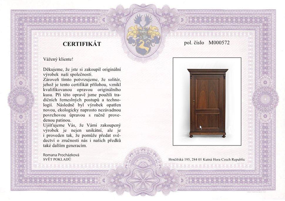 Certifikát originality Svět pokladů