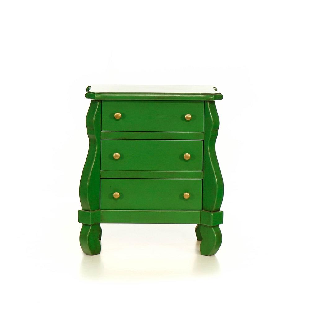Malované postele a nábytek do ložnic Malá zelená komoda – noční stolek