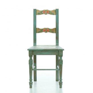 modrá malovaná židle z masivu Svět pokladů