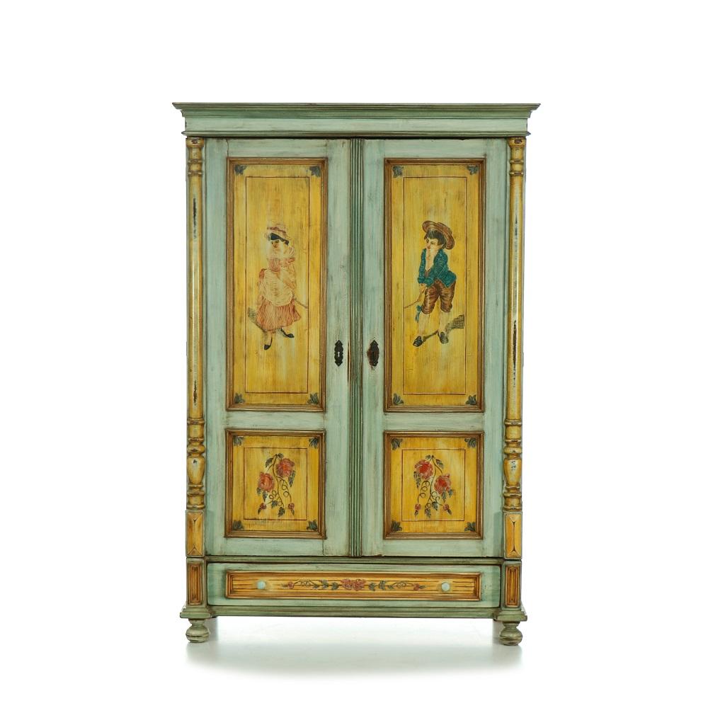 Malovaný a barvený nábytek Malovaná komoda s dvířky a dvěma zásuvkami.