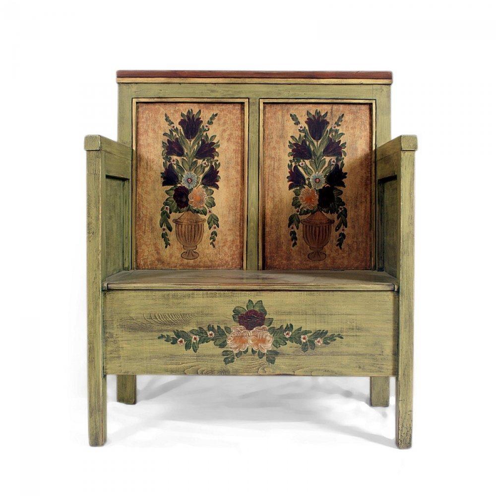 Malovaný a barvený nábytek Malovaná lavice s truhlou