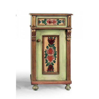 Bohatě malovaný noční stolek se zásuvkou.