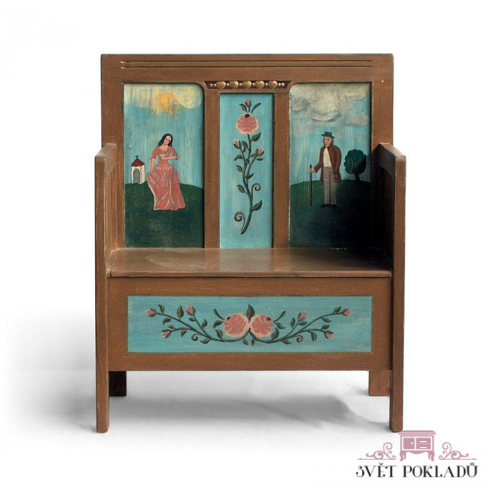 lavice s úložným prostorem z masivu malovaná svět pokladů