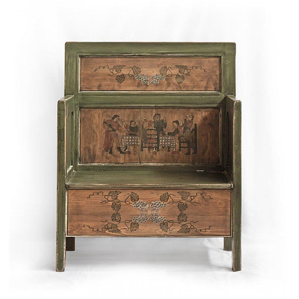 malovaná lavice s úložným prostorem