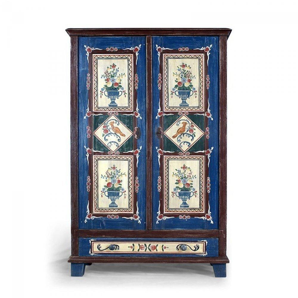 Malovaný a barvený nábytek Bohatě malovaná dvoudveřová skříň