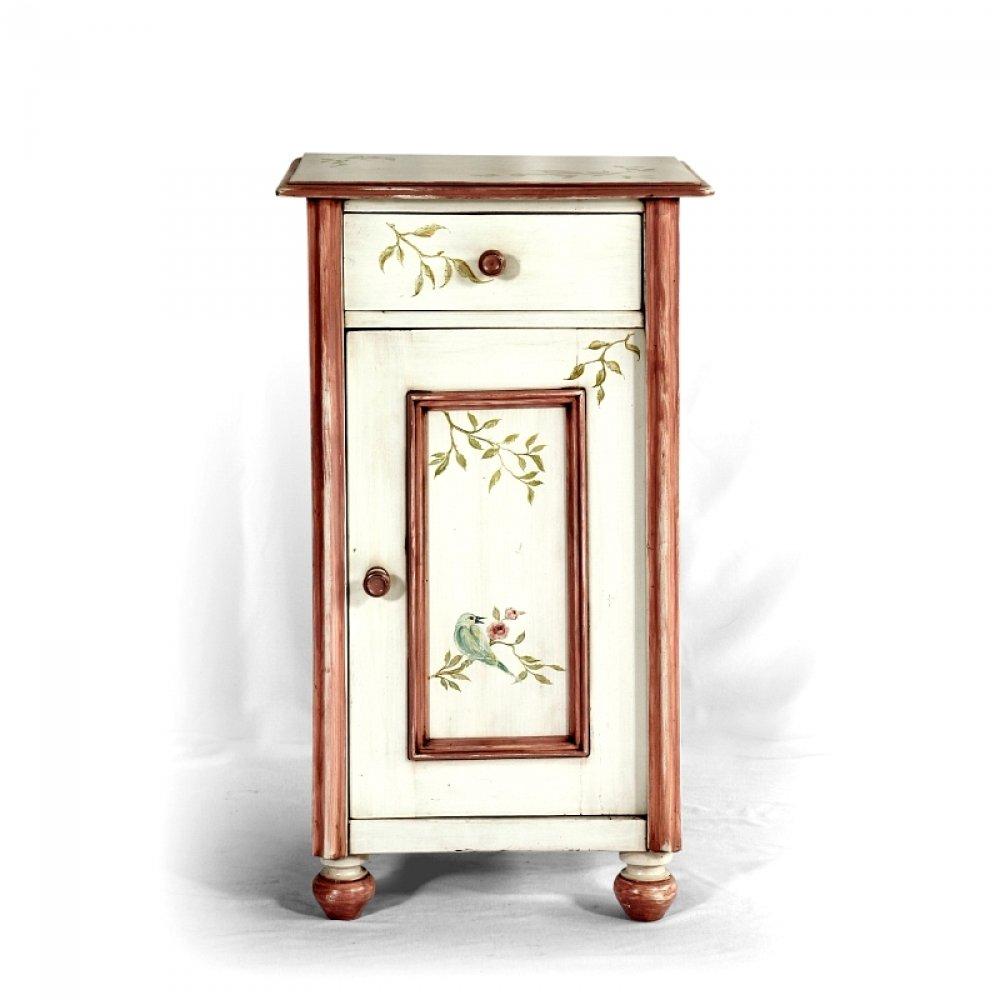 Malované postele a nábytek do ložnic Malovaný noční stolek se zásuvkou, restaurovaný originální kus z počátku 20.století.