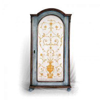 Malovaný a barvený nábytek Jednodveřová malovaná šatní skříň, restaurovaný originální kus z 19. století