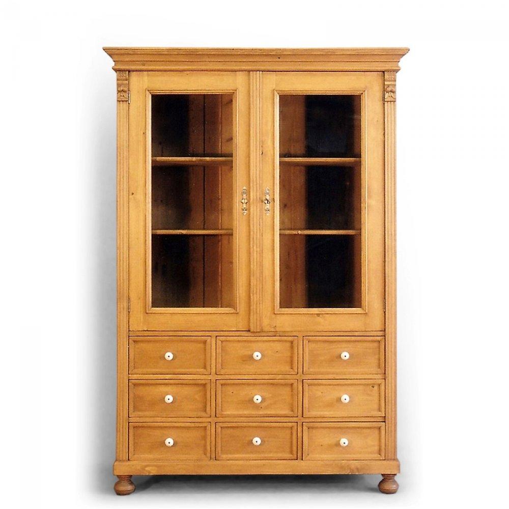 Tradiční selský nábytek Dvoudveřová knihovna s devíti zásuvkami