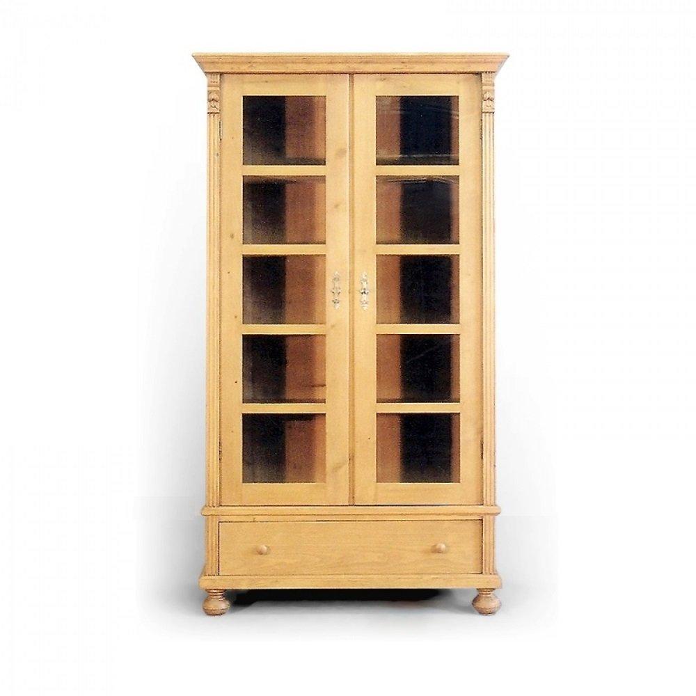 Tradiční selský nábytek Dvoudveřová knihovna z masivního smrkového dřeva.
