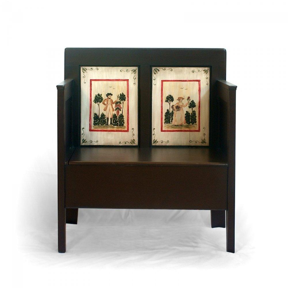 malovaná lavice s truhlou z masivu