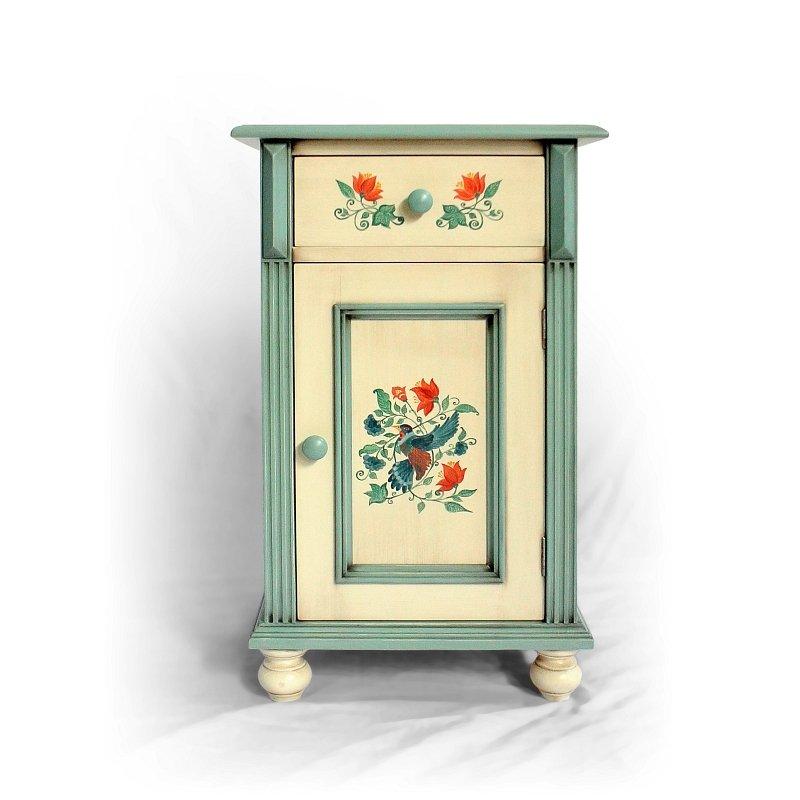 malovaný noční stolek z masivu Svět pokladů