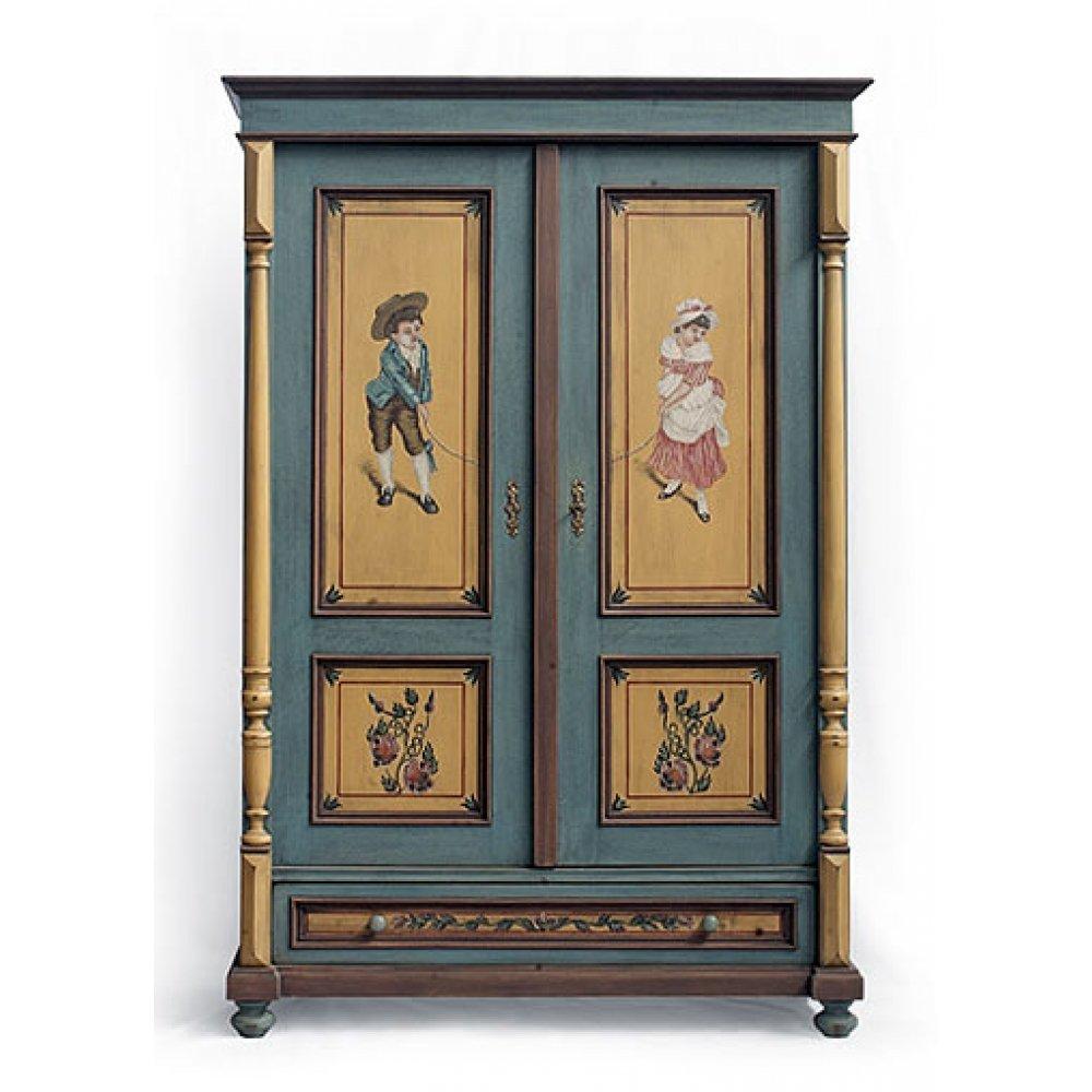 Malovaný a barvený nábytek Ručně vyrobená replika truhly.