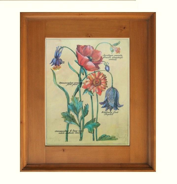 Květiny tisk v rámu