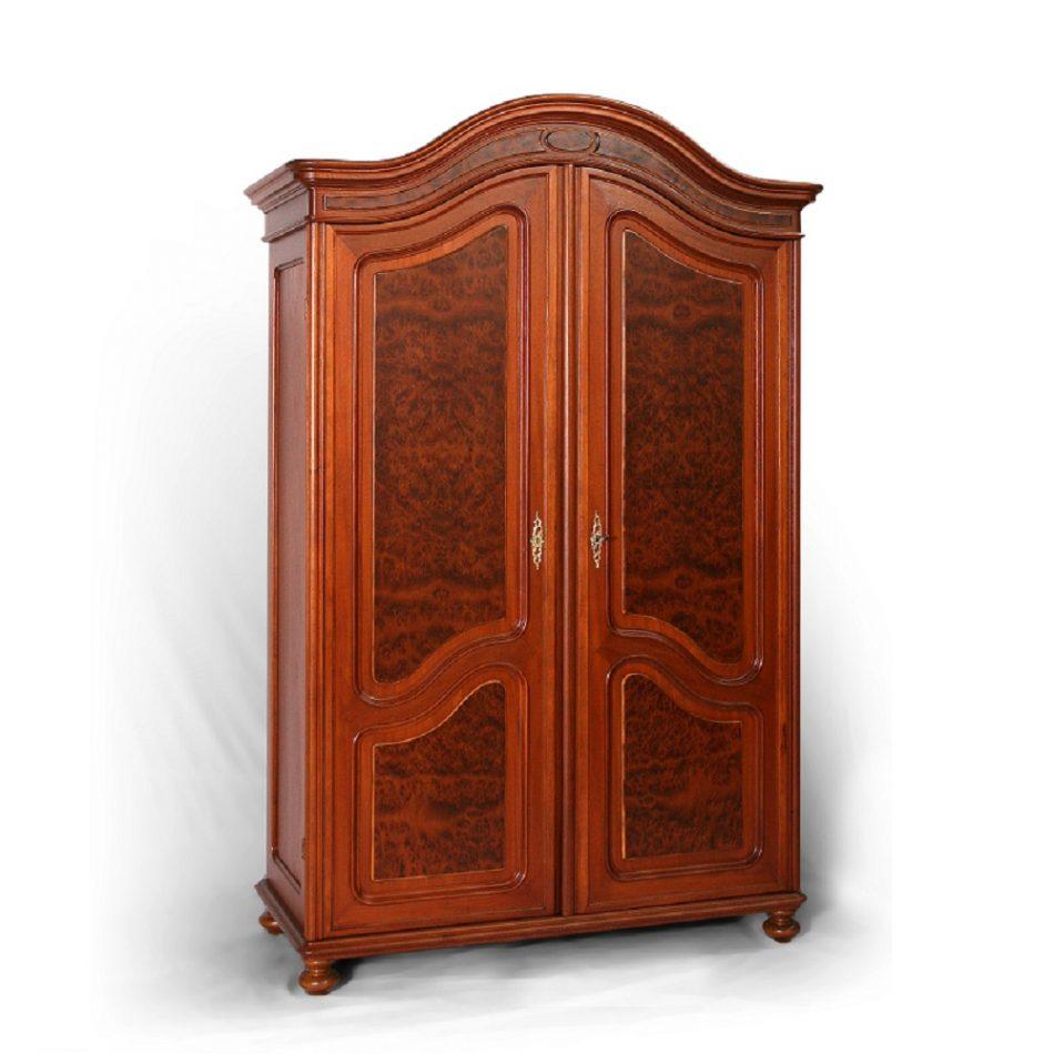 Starožitné šatní skříně Dvoudveřová  šatní skříň dýhovaná kořenicí.