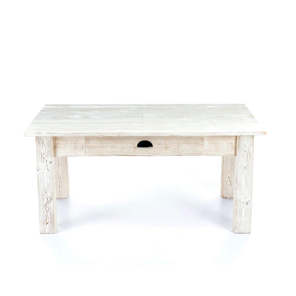 Nízký rustikální stolek vyrobený z masivního smrkového dřeva.