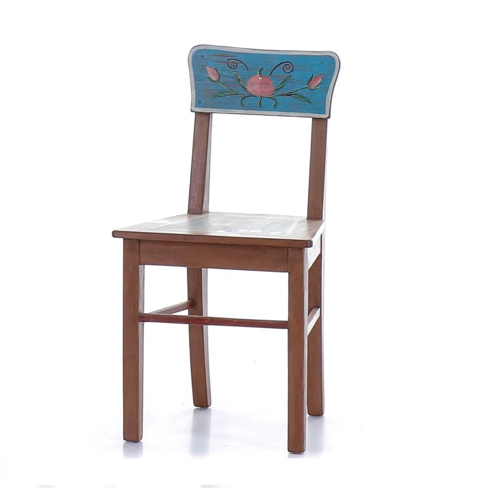 Malovaná selská židle z počátku 20.století, opravená.