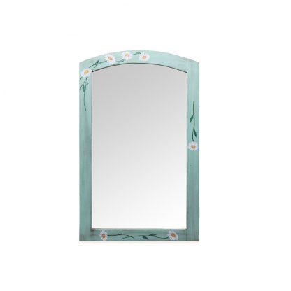 Zelené malované zrcadlo s květinovým dekorem.