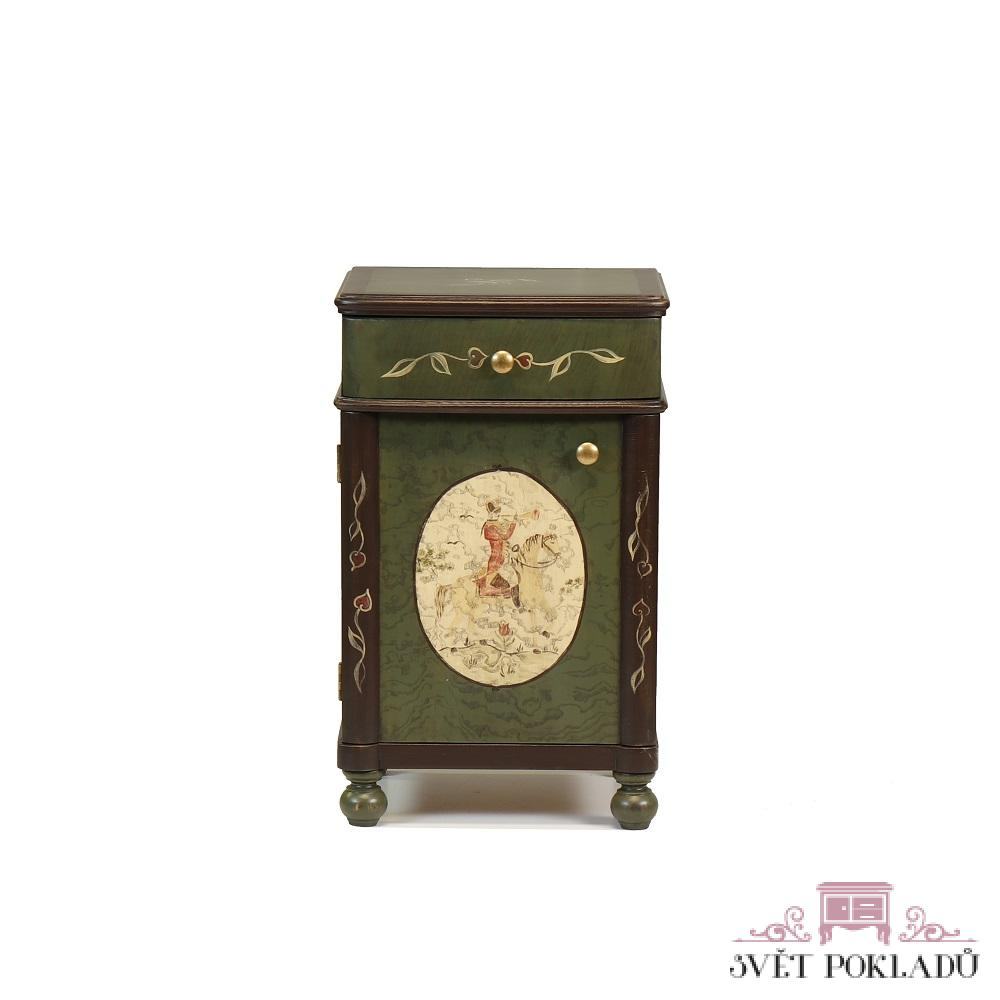Malované postele a nábytek do ložnic Bohatě malovaný noční stolek se zásuvkou.