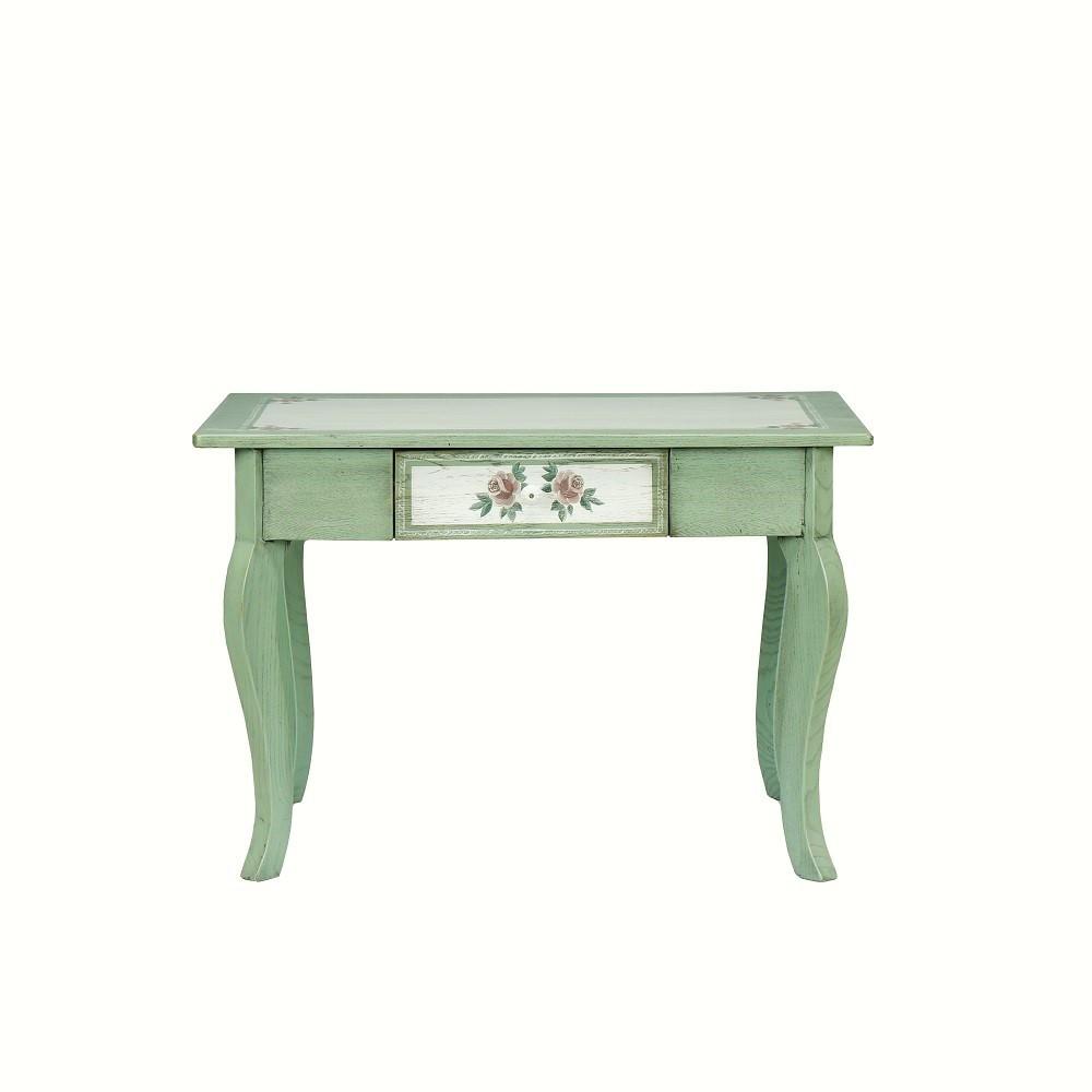 Malovaný a barvený nábytek Zelené malované zrcadlo s květinovým dekorem.