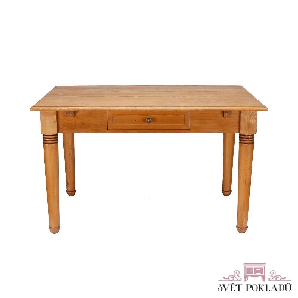Stoly a stolky Stůl se soustruženými nohami z masivního smrku.