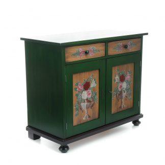 Malovaný a barvený nábytek Zelená malovaná komoda.