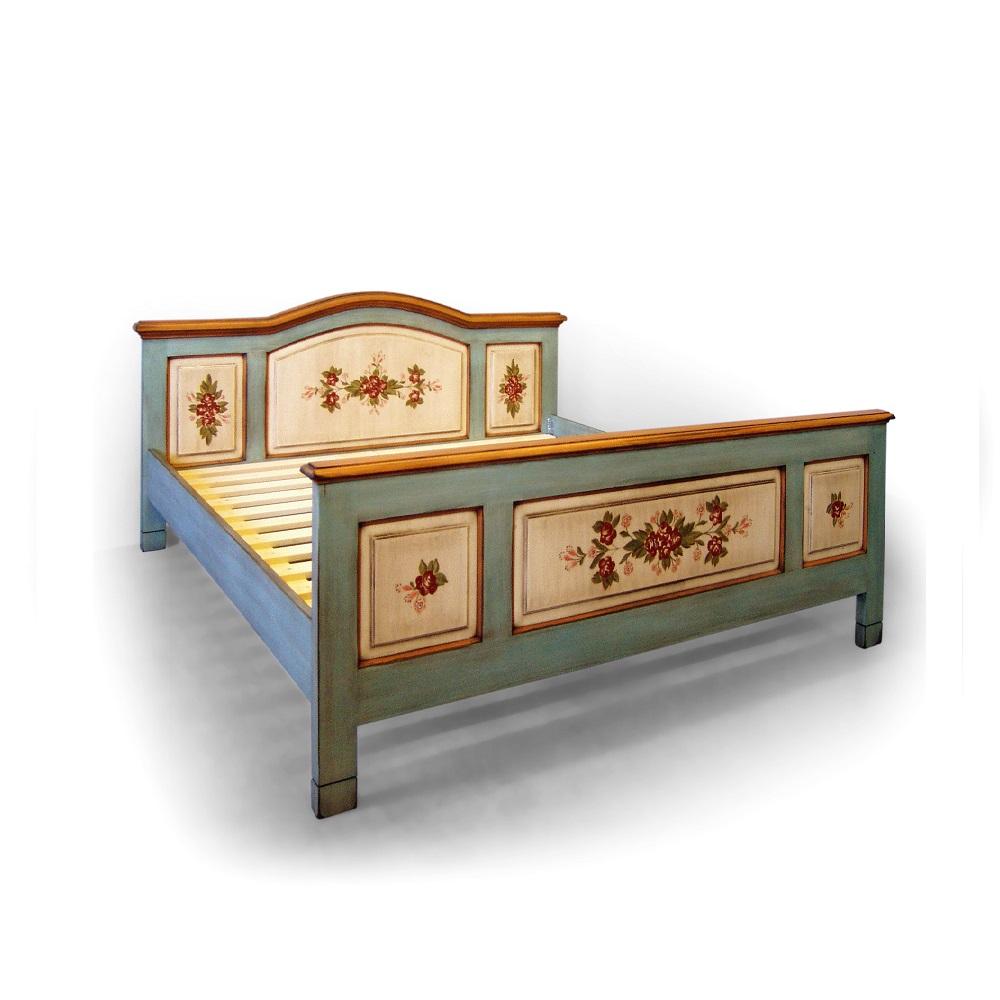 Malované postele a nábytek do ložnic Malovaná dvoulůžková postel s obloukem.