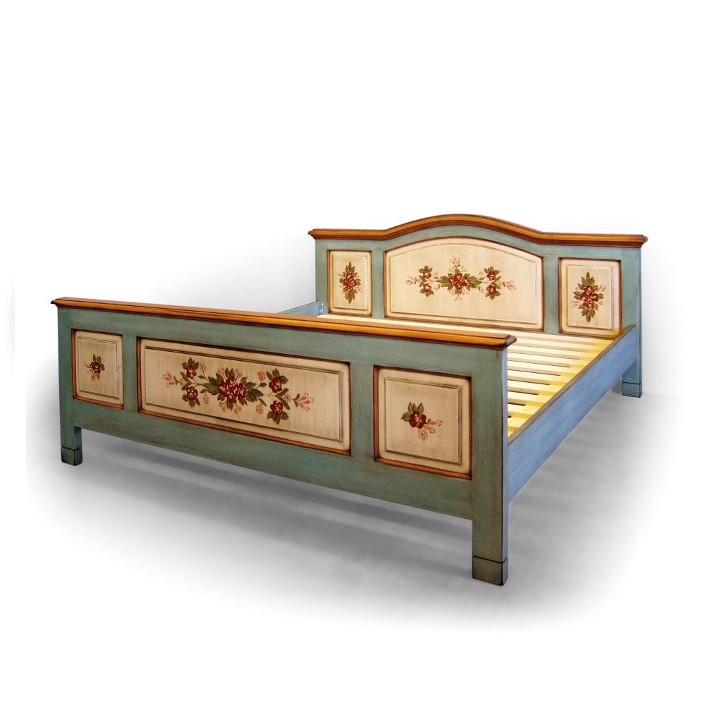 Malované postele a nábytek do ložnic Bohatě malovaná postel s obloukem.
