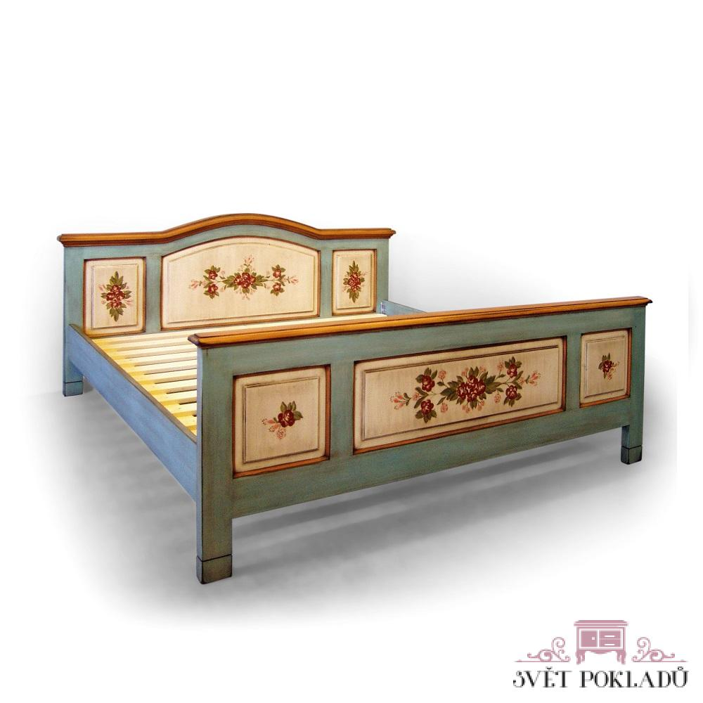 Malované postele a nábytek do ložnic Dvoulůžková malovaná postel s obloukem.