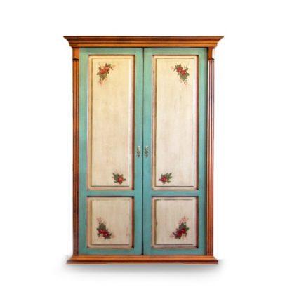Dvoudveřová malovaná šatní skříň.