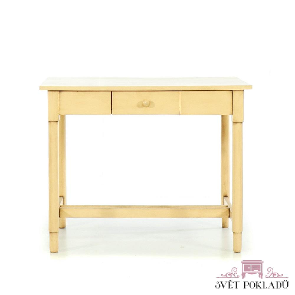 Malované stoly a stolky Krémový starožitný repasovaný stůl.