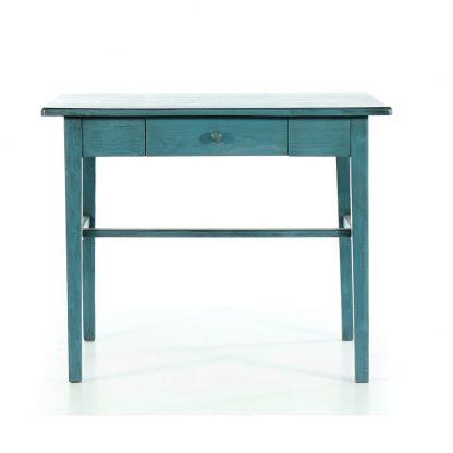 Modrý repasovaný stolek.