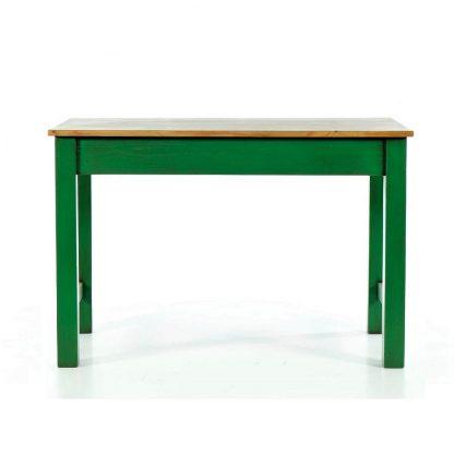Repasovaný zelený stůl z masivního smrkového dřeva.