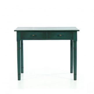 Malované stoly a stolky Modrý repasovaný stůl se dvěma zásuvkami.
