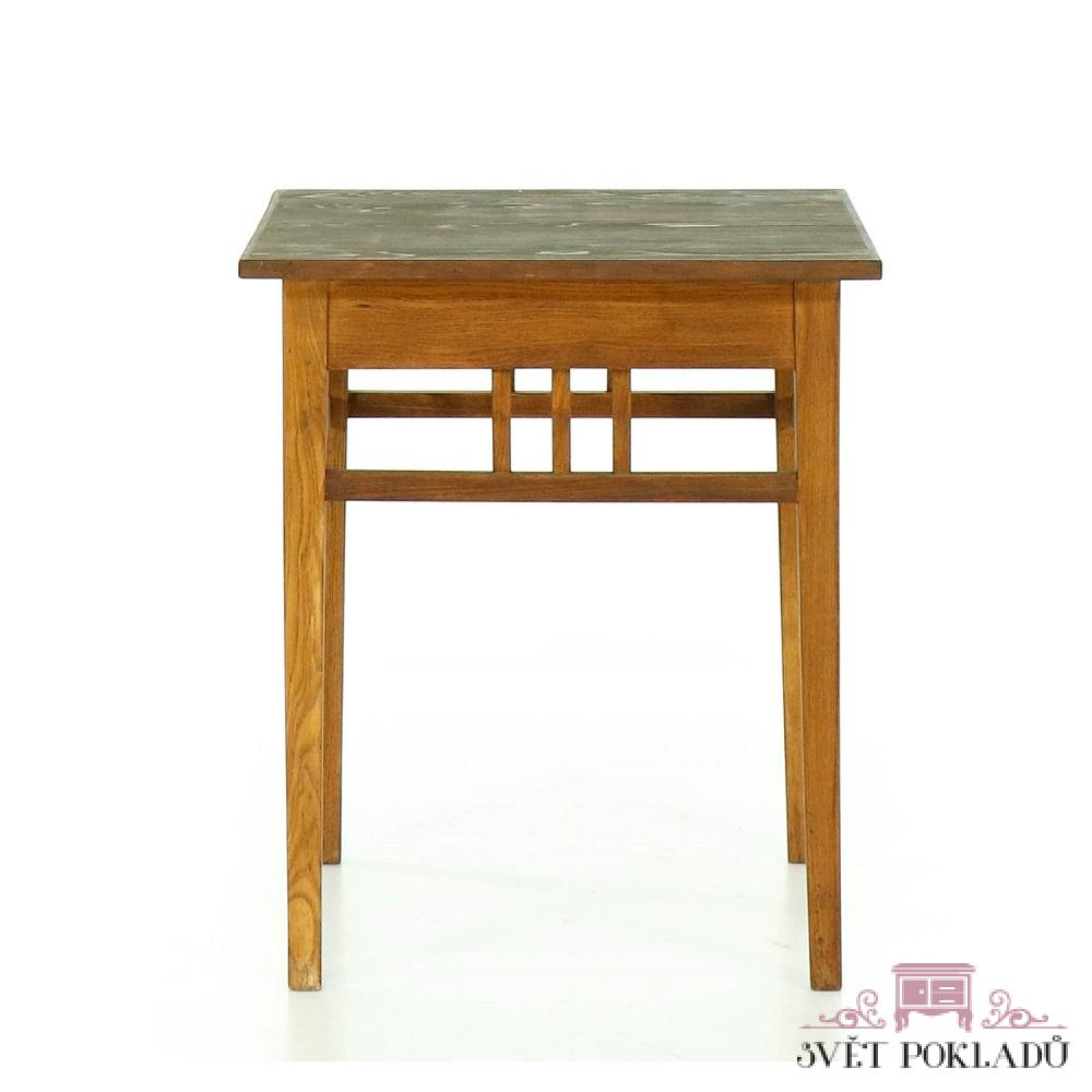 Stoly a stolky Repasovaný stolek z tvrdého dřeva – první republika.