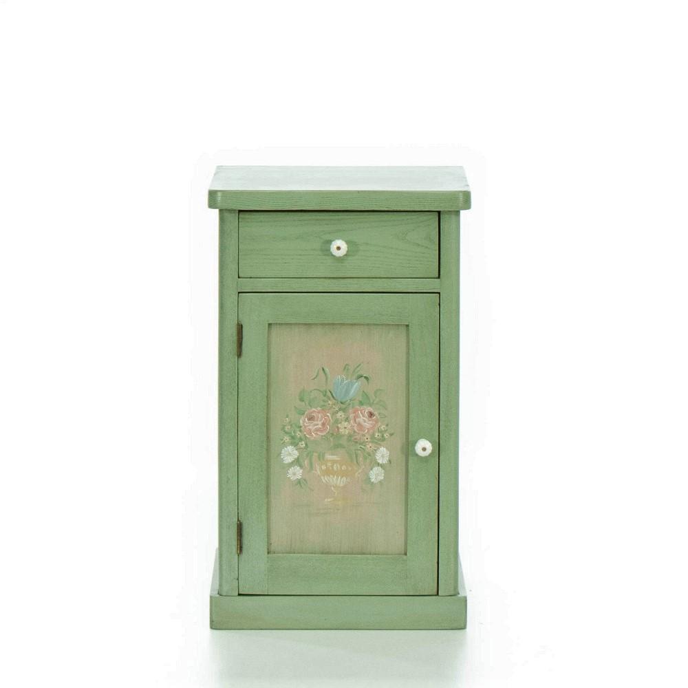 Malované postele a nábytek do ložnic Zelený noční stolek s květinovým dekorem.