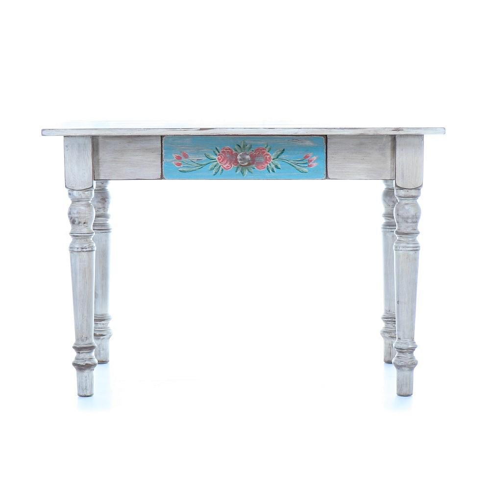 Malované stoly a stolky Zelený jídelní stůl z masivního smrkového dřeva.