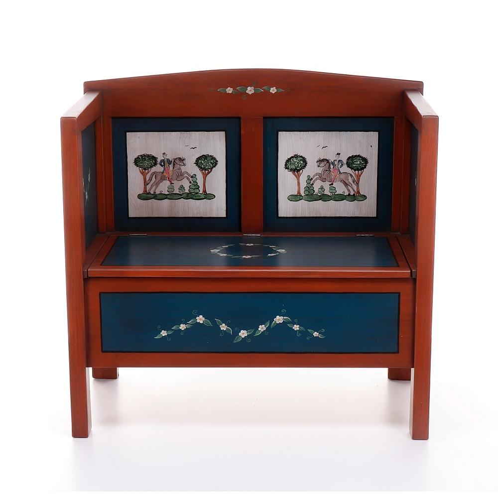 Malovaný a barvený nábytek Malovaná předsíňová lavice s truhlou