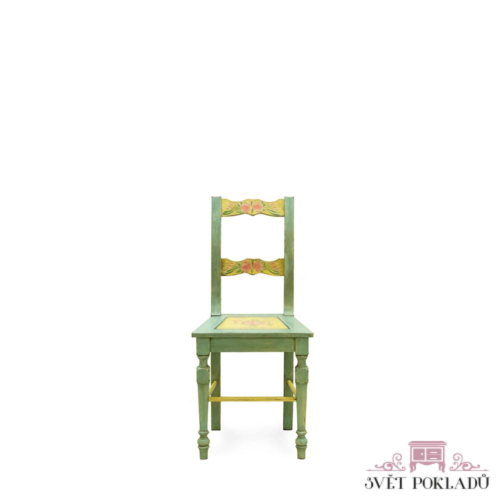 malovaná židle z masivu Svět pokladů